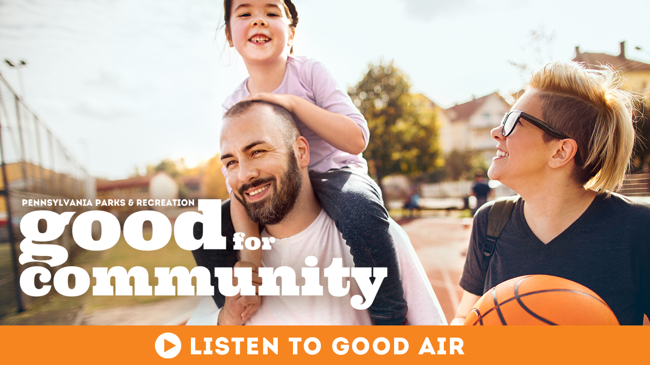 Good Air Podcast Banner Good for Community Parents playing basketball with their daughter
