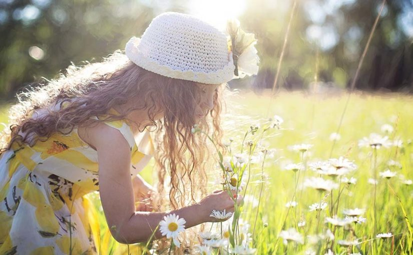 young girl looking at flowers in a field