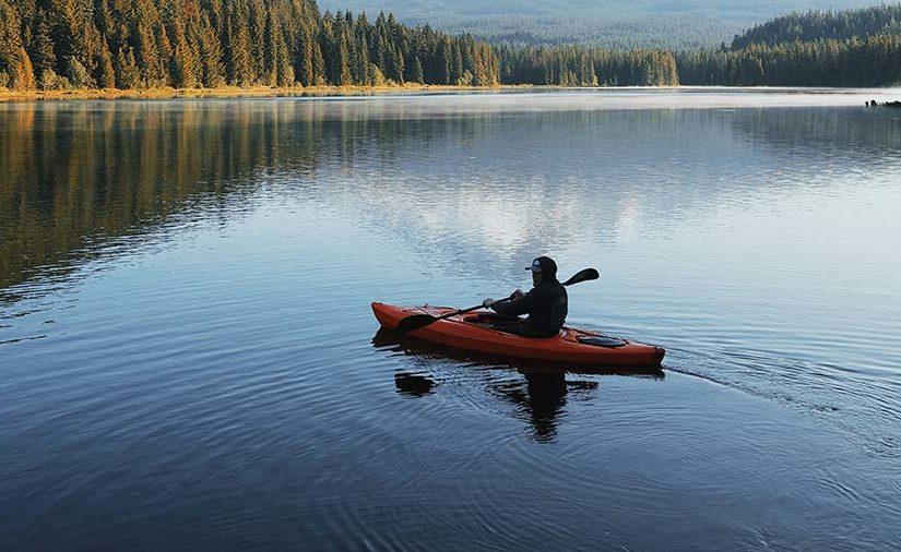 Man kayaking in a river