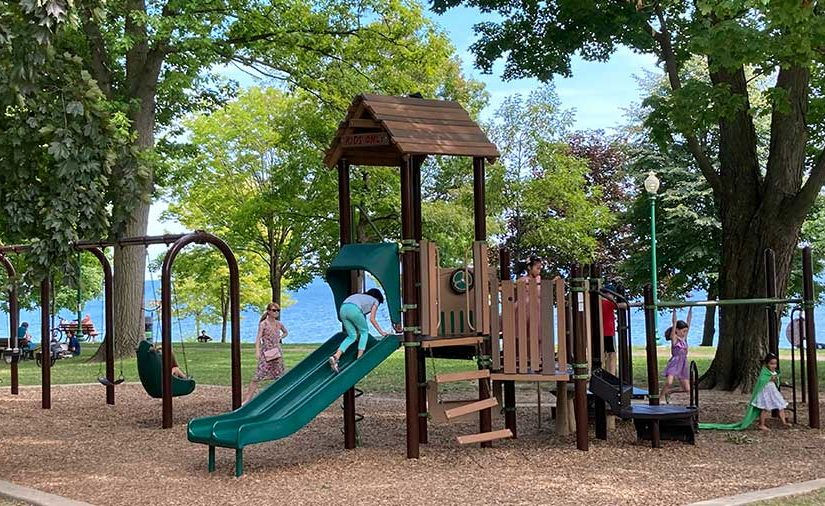 Children developing their skills on a playground at a local Pennsylvania park