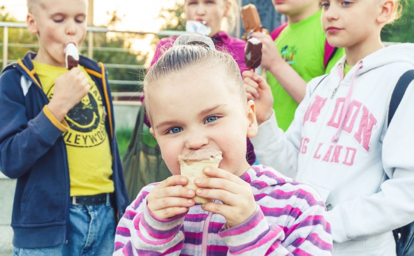 Children enjoying ice cream treats at a local Pennsylvania park